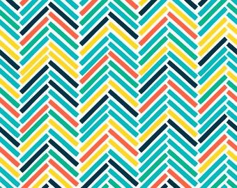 Chevron Fabric, Retro Road Trip, fabric with chevrons, zigzag fabric pattern, by Fabric Freedom, 19-02