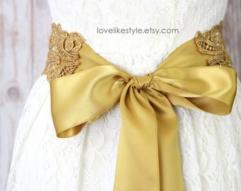 Wide Metallic Gold Lace with Champagne Ribbon Sash Belt, Bridal Gold Lace Sash, Bridesmaid Sash ,Flower Girl Sash