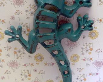 Lizard Gecko Wall Hook Cast Iron Boho Southwest Shabby Elegance Lagoon Dark Aqua Blue Garden Fence Art Beach Jewelry Leash Towel Keys Hook