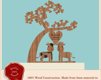 Tree of Love ''Cute Mr & Mrs Cow Couple'' Farm Wooden Personalised Cake Topper. Vintage, Rustic, Anniversary, Engagement