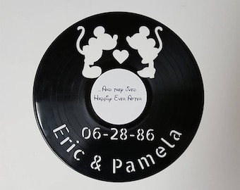Vinyl Wall Art, Mickey Loves Minnie, Christmas gift, Wall Art, vinyl record, personalized, gift for her