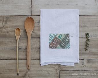 Colorado Home Tea Towel   Vintage License Plate Art   Colorado State Outline Art   Kitchen Decor