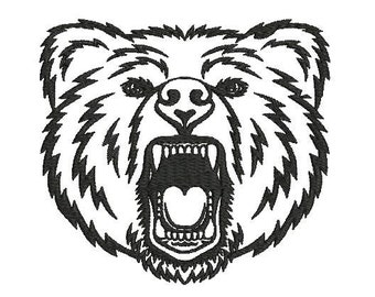 6 sizes - Bear Embroidery Design, Bear Face Embroidery, Bear Silhouette Embroidery, Machine Embroidery, Animal Embroidery, Instant Download