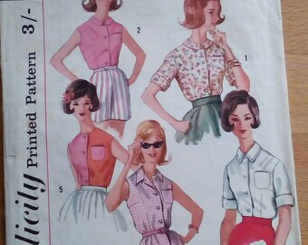 """1960s Blouse - 34"""" Bust - Simplicity 3745 - Vintage Sewing Pattern"""