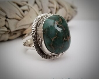 Damale Turquoise and Sterling Silver Band Ring Size 8.25