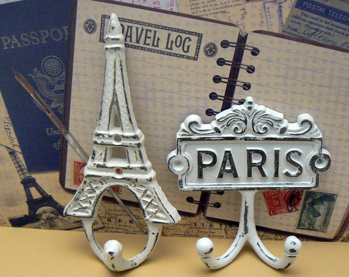 Eiffel Tower Paris Cast Iron Pair Wall Hooks White French Shabby Chic Home Decor