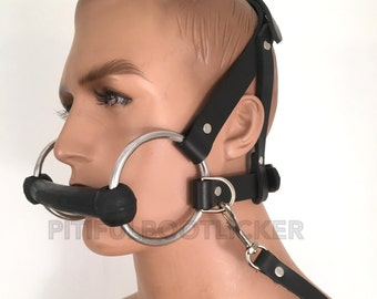 Leather PONY Play Bridle Gag w Reins  Head Harness Bit Genuine Latigo Leather