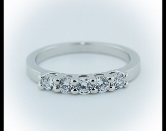 Diamond Wedding Band 14k White Gold Custom Bridal Jewelry Yellow Gold Rose Gold Platinum  5 Stone Petite Wedding Band