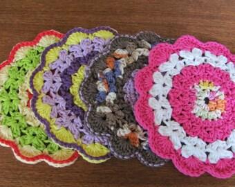 Vintage 70's Multi-Colored Crocheted Pot Holders - set of 4 - 70's Kitchen - Trivet - 70's Potholder - Serving - Hot Plate - 70's Needlework
