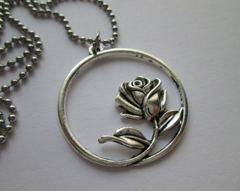 Rose Necklace Stainless Steel ball chain
