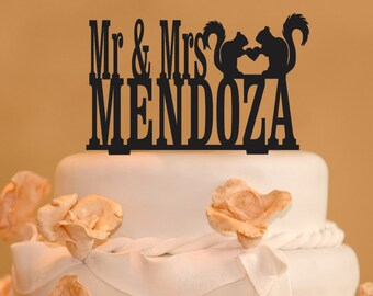 Personalized Mr. and Mrs. with your last name Wedding Cake Topper- Mr and Mrs two squirrels with heart topper- Squirrel cake topper