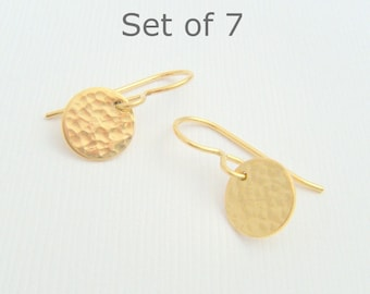 """bridesmaid earrings. SET OF 7. tiny gold dangles. hammered round circle. 14k gold filled. drop earrings. bridal jewelry. wedding gifts  3/8"""""""