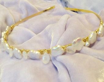 Bridal Headband, Flower Pearl and Moonstone Headband, Flower Girl Headband,  Bridesmaid Hair Piece, June birthstone, Bridal Hair band