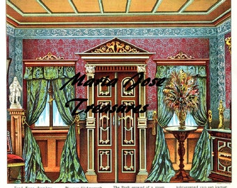 Vintage Reproduction of Theater Background Scenes Panels Paper Doll Cut Outs - Digital Download