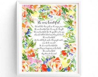 Printable Quotes, Wall Art Prints, Instant Download Print, Printable, She was beautiful, F Scott Fitzgerald