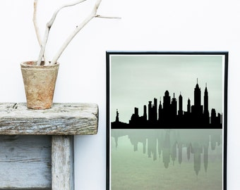 New York Skyline, Printable Art, New York Silhouette, City skyline,   Wall Decor, Wall Art, Instant Download