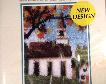 "Latch Hook Wonder Art Latch Hook Kit # 4109  Country Church 15 "" x 20 """