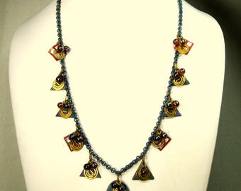 Maroon & Denim Blue Metal Charm Necklace , Triangles, Spirals, Glass Beads, 1980s TRIBAL Distressed Colors