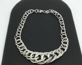 14K White Gold Link Bracelet