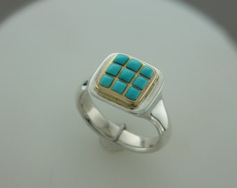 Sterling silver 14 karat gold Sleeping Beauty turquoise 9  stone ring