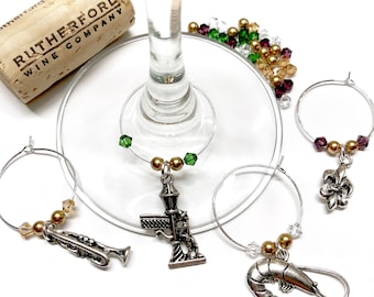 New Orleans Mardi Gras Bourbon Street wine charms with swarovski crystals and pearls