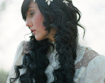 Golden Leaf Bridal Headpiece crown halo head or hair chain