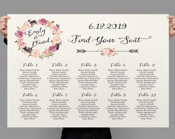 Personalized Wedding Seating Chart Table Seating plan printable Floral Table plan, Boho Wedding Decor DIY digital files