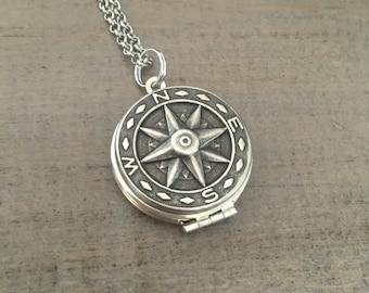 Silver Compass Locket Necklace,  Adventure, Wanderlust