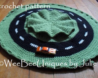 crochet pattern instant digital download play mat race car track drawstring bag boy girl play set accent rug