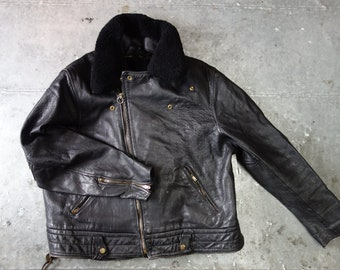 Badass heavy biker jacket CHP style with lining and collar size 52