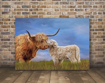 Highland Cow Print,Highland Cow,Highland Cow Art,Highland Cattle,Highland Calf,Cow Gift,Highland Cow Canvas-Sells UK/USA and Australia