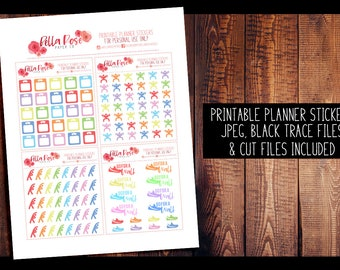 Workout/Fitness PRINTABLE Planner Stickers   Planner Stickers, Digital, for use in Erin Condren Planners, Happy Planner Stickers