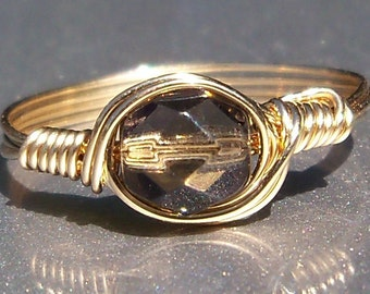 Moonless Night Czech Glass 14k Yellow Gold Filled Wire Wrapped Ring