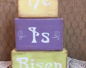 "Wooden Easter Block Set ""He Is Risen"""