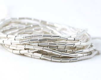 Fine Silver Beads plain tubes 1mm hole 6mm bead pack of 20 beads .999 fine silver hill tribe beads