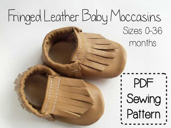 Baby Moccasin Shoes >> Fringe Leather Baby Moccasins PDF Sewing Pattern Tutorial