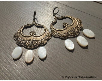 Eugénie Art Nouveau earrings, with mother of pearl beads