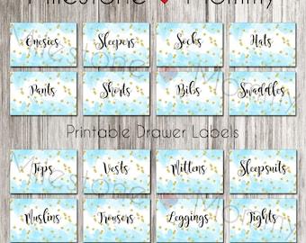 Watercolor Drawer Labels, Printable Dresser Labels, Boys Nursery Organization, Nursery Decor, DIGITAL DOWNLOAD, Drawer Organizer