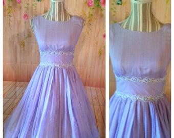 Vintage 50's Lavender Cotton Dress