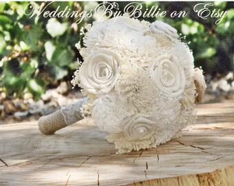 Sola Wedding Bouquets, Ivory Sola Bouquet, Wedding Flowers, Alternative Bouquet, Burlap & Lace, Bridal Accessories,Keepsake Bouquet,Sola