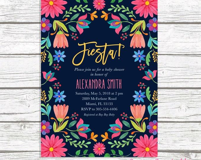 Fiesta Baby Shower Invitation, Cinco de Mayo Baby Shower Invitation, Mexican Floral Invite, Mexican Fiesta, Cinco de Mayo Invite