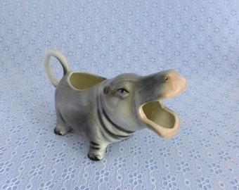 Vintage Hippo Creamer, Hippopotamus Figurine Creamer