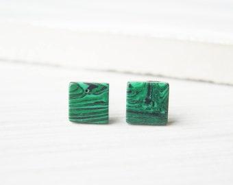 Small Green Studs, Malachite Look, Nickel Free Titanium Post Earrings, Simple, Geometric, Stripes, Black