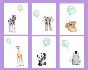 nursery wall art, mint nursery, baby nursery decor, set of prints, watercolor nursery art, childrens art, baby animal paintings, mint decor