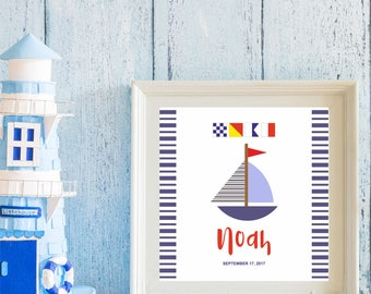 Custom Baby Print with Nautical Code for Baby Shower, Room Decor, Newborn Gift, Digital Download, Printable
