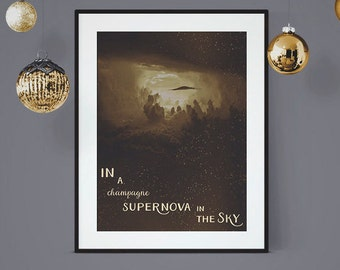 Champagne Supernova, Oasis Lyric Poster, Oasis Art Print, Song Lyric Poster, Lyrical Art, Music Lyric Art, Wall Art, Oasis Music Lyrics