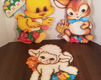 Vintage Easter Die Cuts // Set of 3 // Beistle Company // Spring Decor // Easter Bunny // Holiday Banner // Easter Decor