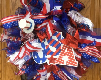 Patriotic Wreath, Red White and Blue, Veterans Day, 4th of July, Memorial Day, Military Wreath, Deco Mesh Wreath