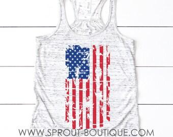 American Flag 4th of July Flowy Tank Top, Ladies Flag Tank Top