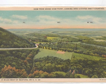 """W. Va, Md, Pa., Vintage Postcard, """"View from Grand View Point, Looking into 3 States and 7 Counties,""""  1940s, #781"""